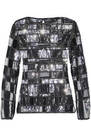Raoul Woman Bead And Sequin-embellished Mesh Top Black