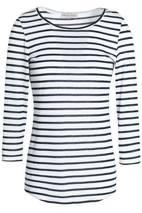 Emilio Pucci Striped Jersey Top In White
