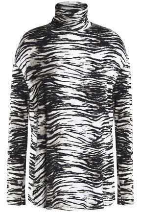 Majestic Woman Printed Stretch-jersey Turtleneck Top Black