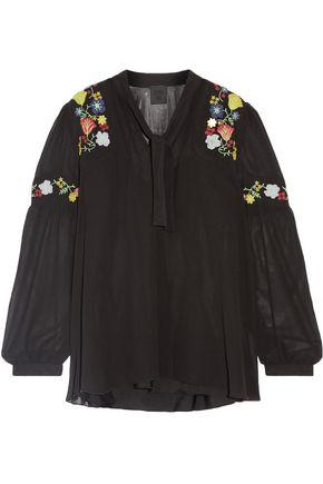 Anna Sui Woman Garden Embroidered Georgette Blouse Black