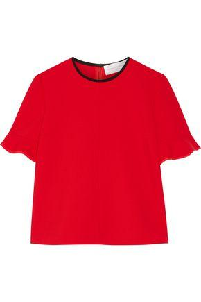 Victoria Victoria Beckham Woman Silk-trimmed Stretch Wool-blend Top Red