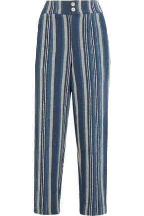 Chloé Striped Cotton-blend Straight-leg Pants In Blue