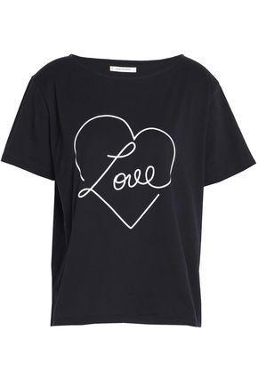 Chinti & Parker Woman Printed Cotton-jersey T-shirt Black