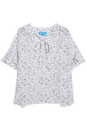 M.i.h Jeans Dawes Pussy-bow Floral-print Silk Blouse In White