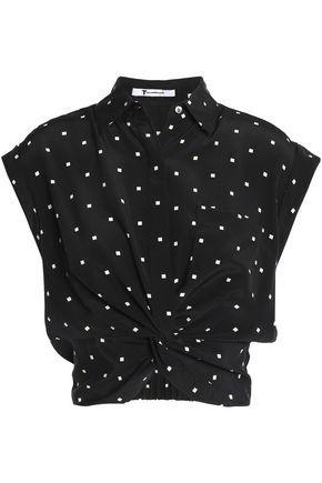 T By Alexander Wang Alexanderwang.t Woman Cropped Knotted Printed Silk Crepe De Chine Top White In Black