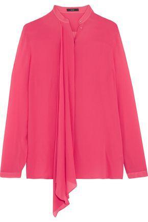 Etro Woman Draped Silk-georgette Blouse Pink