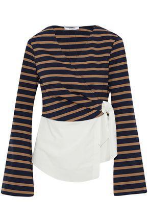 Derek Lam 10 Crosby Woman Paneled Striped Jersey And Cotton-poplin Wrap Top Multicolor