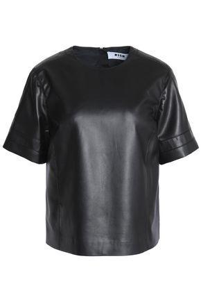 Msgm Woman Faux Leather Top Black