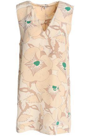 Ganni Woman Grace Floral-print Silk Tunic Beige