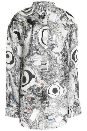 Acne Studios Woman Printed Silk-chiffon Shirt Gray