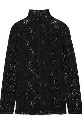 Dkny Woman Velvet-lace Top Black