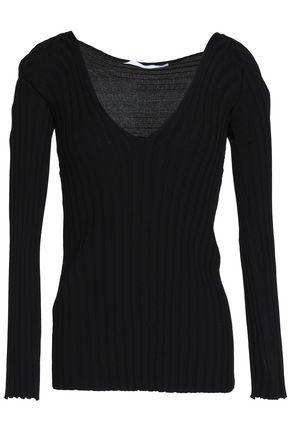 Rosetta Getty Woman Ribbed-knit Top Black