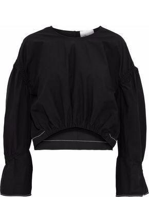 3.1 Phillip Lim Shirred Cotton-poplin Top In Black