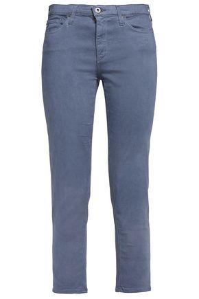 Ag Woman Cropped Cotton-blend Slim-leg Pants Light Blue
