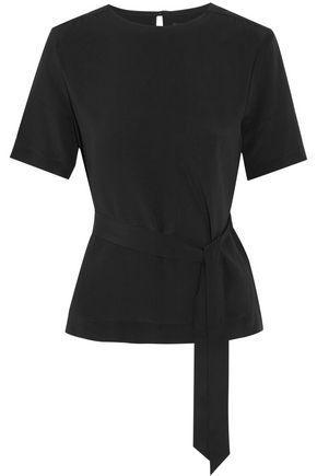 Vanessa Seward Woman Delight Belted Silk-crepe Top Black