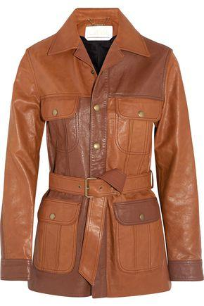 ChloÉ Woman Belted Leather Jacket Tan