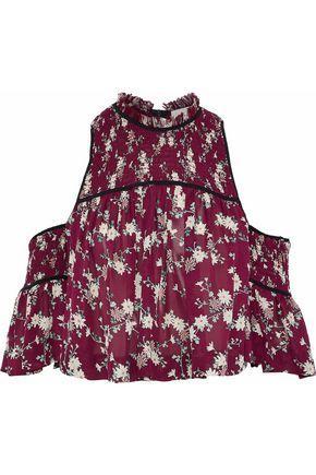 Cinq À Sept Woman Soha Cold-shoulder Shirred Floral-print Silk Crepe De Chine Top Brick
