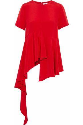 Goen J Woman Asymmetric Ruffled Silk-crepe De Chine Top Red