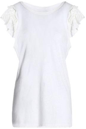 Current Elliott Woman The Double Ruffle Slub Linen And Cotton-blend Jersey T-shirt Off-white
