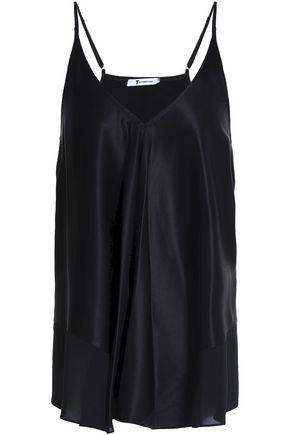 T By Alexander Wang Woman Chiffon-trimmed Silk-charmeuse Camisole Black