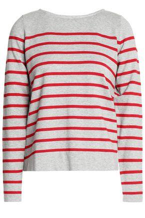 Autumn Cashmere Lace-up Striped Cotton-blend Sweater In Stone