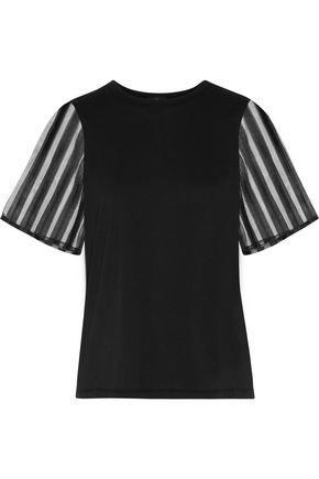 Clu Woman Tulle-paneled Cotton T-shirt Black