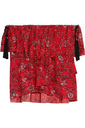 Cinq À Sept Woman Kahlia Off-the-shoulder Ruffled Printed Silk Blouse Red