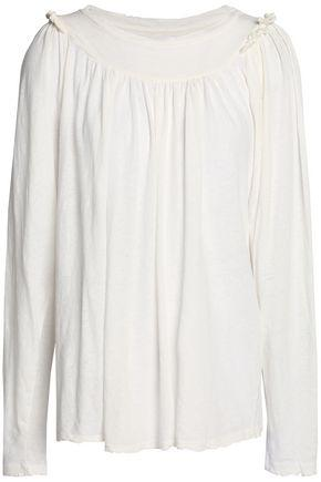 Current Elliott Woman Gathered Cotton And Linen-blend Jersey Top Ivory