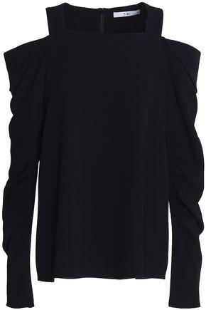 Tibi Woman Cold-shoulder Ruched Cady Top Black