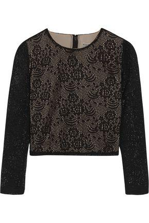 Alice And Olivia Woman Bernie Cropped Crocheted Top Black