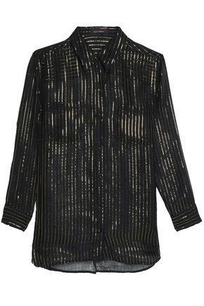 Kate Moss Equipment Woman Striped Metallic Silk Top Black