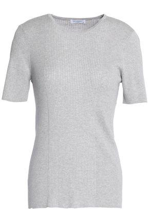 Equipment Woman Davenport Ribbed Cotton, Silk And Cashmere-blend T-shirt Light Gray