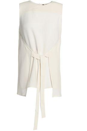 Theory Woman Tie-front Crepe Top Ivory
