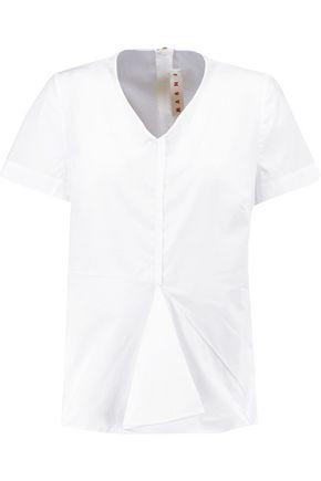 Marni Woman Pleated Cotton Blouse White