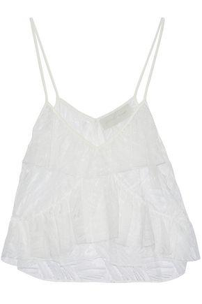 Michelle Mason Woman Ruffled Lace And Tulle Top Ivory