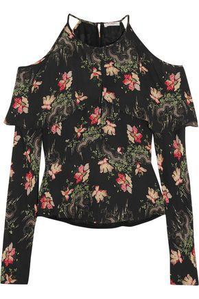 Vilshenko Woman Cold-shoulder Floral-print Silk Crepe De Chine Blouse Black