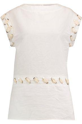 Jw Anderson Woman Whipstitch-trimmed Textured Linen And Cotton-blend Top White