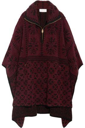 ChloÉ Oversized Wool And Cashmere-blend Terry Cape In Burgundy