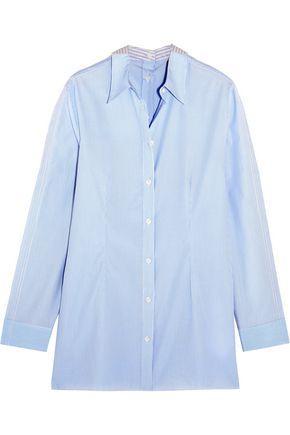 Mm6 Maison Margiela Woman Striped Cotton-poplin Shirt Sky Blue