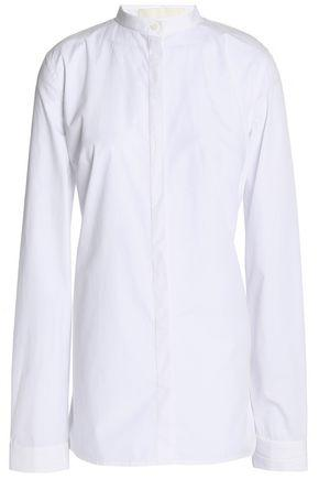 Dion Lee Woman Ruched Cutout Striped Stretch Cotton-poplin Shirt White