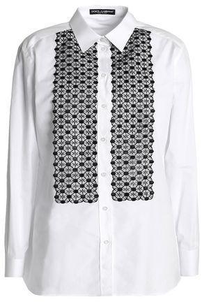 Dolce & Gabbana Crochet-paneled Cotton-blend Poplin Shirt In White