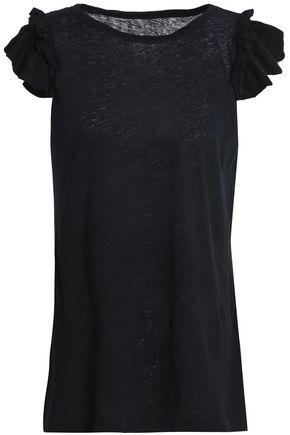 Current Elliott Woman The Double Ruffle Slub Linen And Cotton-blend Jersey T-shirt Black