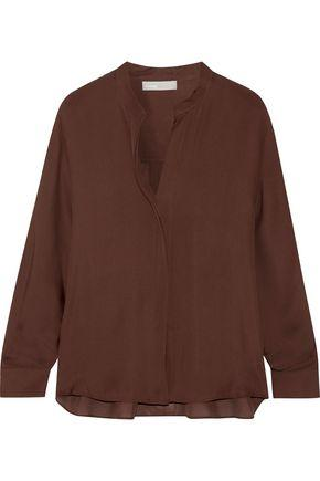Vince Woman Silk-georgette Blouse Chocolate
