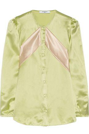 Givenchy Silk-satin Blouse With Contrast Bands In Mint