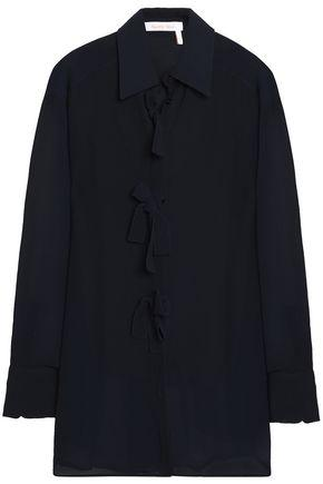 See By ChloÉ Bow-detailed Chiffon Blouse In Midnight Blue