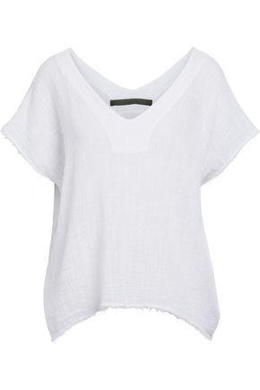 Enza Costa Woman Draped Cotton-gauze Top White