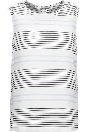 Equipment Woman Reagan Striped Washed-silk Top White