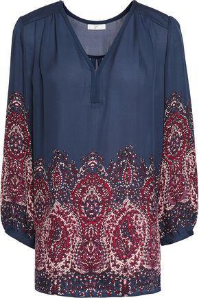 Joie Woman Riva Printed Silk-chiffon Blouse Midnight Blue