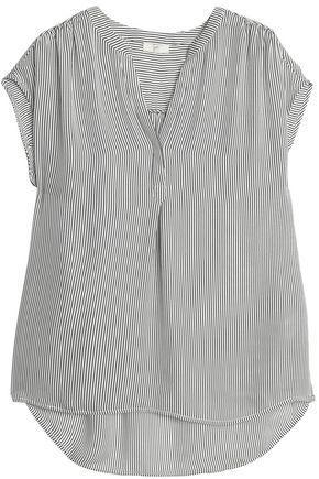 Joie Woman Striped Silk Top White