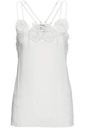 Haute Hippie Woman Giupure Lace-trimmed Voile Camisole Ivory